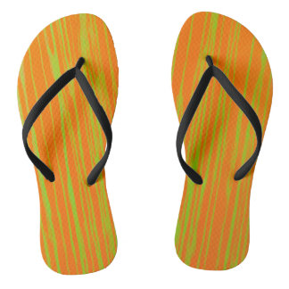 Orange and Lime Stripes by JP Choate Flip Flops