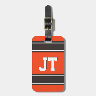 Orange and Medium Brown Sport Stripes Personalized Luggage Tag