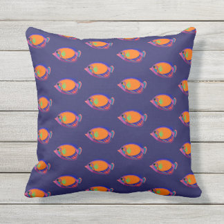 Orange and Navy Blue Abstract Tropical Fish Throw Pillow