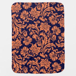 Orange And Navy Blue Floral Damasks Swaddle Blankets
