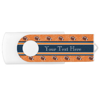 Orange and Navy Blue Footballs USB Flash Drive