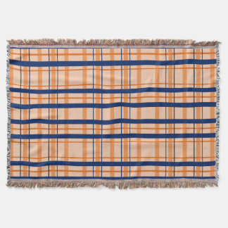 Orange and Navy Blue Throw Blanket