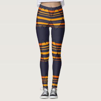 Orange and Navy Diamond Pattern Leggings