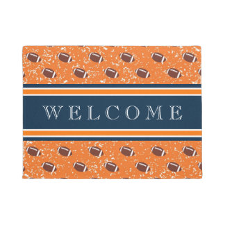 Orange and Navy Footballs Doormat