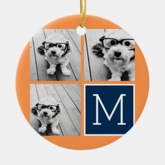 Orange and Navy Instagram Photo Collage Monogram Ceramic Ornament