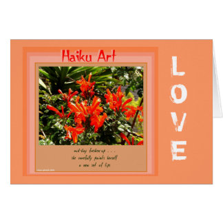 Orange and Peach Customizable Haiku Greeting Card