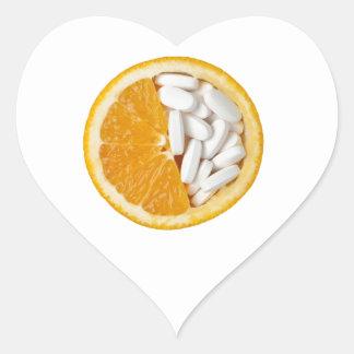 Orange and pills heart sticker