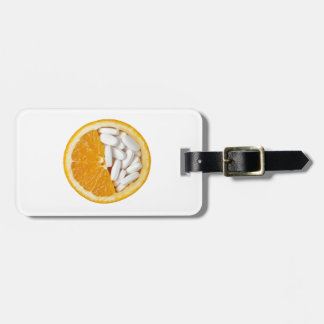Orange and pills luggage tag