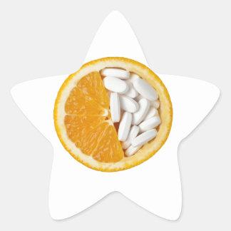 Orange and pills star sticker