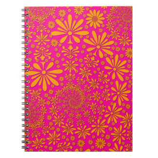 Orange and Pink Floral Pattern Notebook
