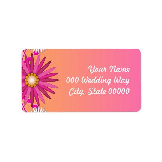 Orange and Pink Floral Wedding Address Labels