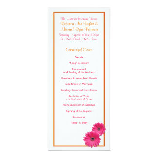 Orange and Pink Gerbera Daisy Wedding Program