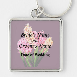 Orange and Pink Hyacinths Wedding Products Silver-Colored Square Keychain