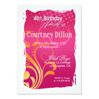 Orange and Pink Swirl 40th Birthday Party Card