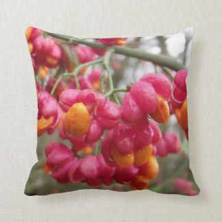 Orange and Pink Wahoo Bush Berries Pillow