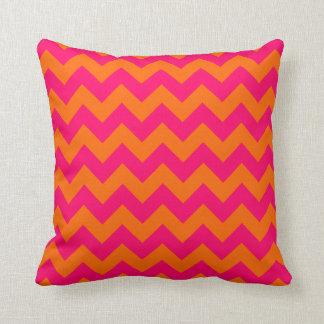 Orange and Pink Zigzag Throw Pillow