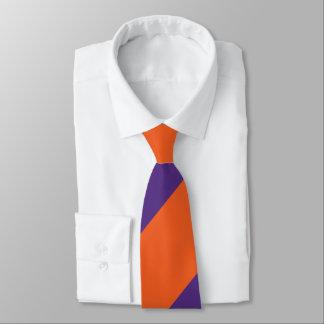 Orange and Plum Broad Regimental Stripe Tie