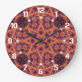 Orange And Purple Geometric Abstract Pattern Large Clock