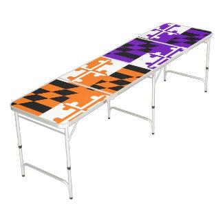Orange and Purple Maryland Flag Folding Table