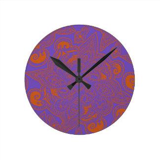 Orange and Purple Persian Star Mandala Pattern Round Clock