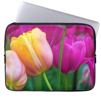 Orange and purple tulips laptop sleeve