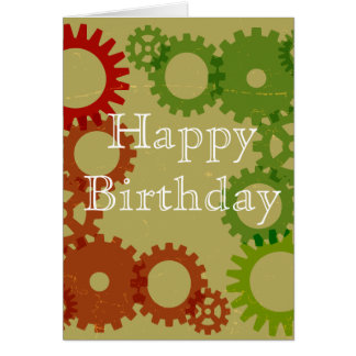 Orange and red gear background, HappyBirthday Card