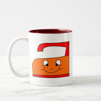 Orange and Red Iron Cartoon. On White. Two-Tone Coffee Mug