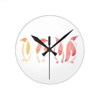 Orange and Red Penguins Round Clock