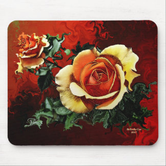 Orange and Red Rose Mouse Pad by Artful Oasis
