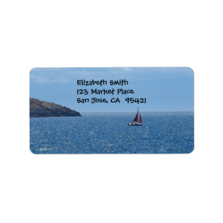 Orange and Red Sail Boat Address label