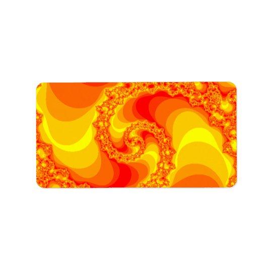 orange and red spiral fractal label