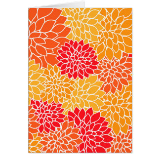 Orange and Red Vector Sunburst Flowers Card