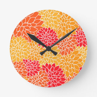 Orange and Red Vector Sunburst Flowers Wall Clocks