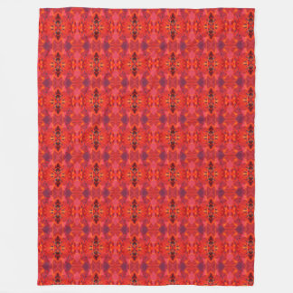 Orange And Red Vintage Abstract Pattern Fleece Blanket