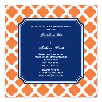 Orange and Royal Blue Quatrefoil Rehearsal Dinner Card