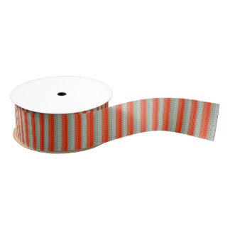 Orange and Sage Green Stripe Grosgrain Ribbon