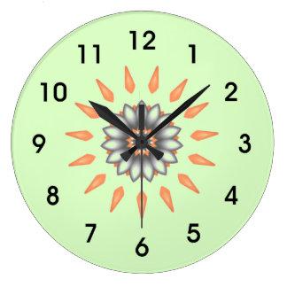 Orange and Silver Starburst Flower Large Clock