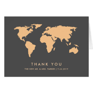 Orange and Smoky Gray | World Map Thank You Card