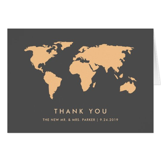 Orange and Smoky Grey | World Map Thank You Card