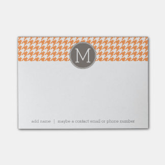 Orange and Taupe Houndstooth Pattern Monogram Post-it Notes