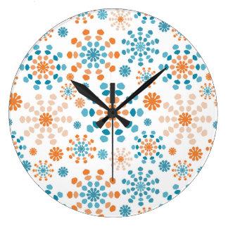 Orange and Teal Color Bursts Large Clock