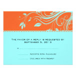 Orange and Teal Floral Swirls Wedding RSVP Personalized Invites