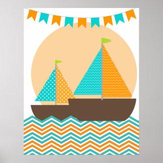 Orange and Teal Nautical Sailboat Nursery Poster