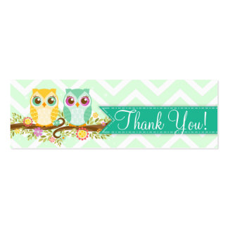 """Orange and Teal Owl Twins Shower """"Thank You"""" Tag Mini Business Card"""
