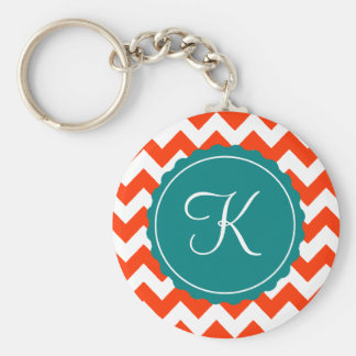 Orange and Teal Zig Zag Custom Initial Basic Round Button Keychain