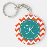 Orange and Teal Zig Zag Custom Initial Key Chain