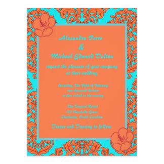"""Orange and Turquoise Damask 6.5"""" X 8.75"""" Invitation Card"""