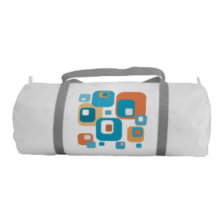 Orange and Turquoise squares print bag