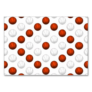 Orange and White Basketball Pattern Table Card