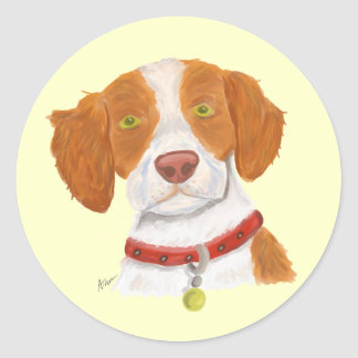 Orange and White Brittany Classic Round Sticker